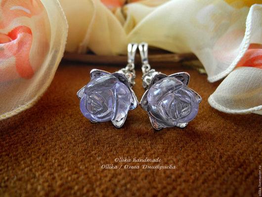 Серьги ручной работы. Ярмарка Мастеров - ручная работа. Купить Серьги Розы для Снежной Королевы, под серебро. Handmade.