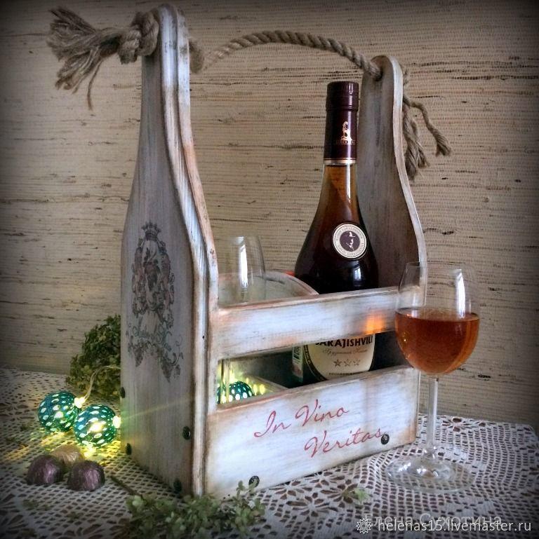 Винный короб светлый Декупаж Короб для вина на 2 бутылки Массив сосны