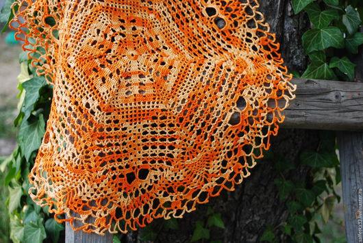 Текстиль, ковры ручной работы. Ярмарка Мастеров - ручная работа. Купить Салфетка крючком Солнечная. Handmade. Оранжевый, фотосессия