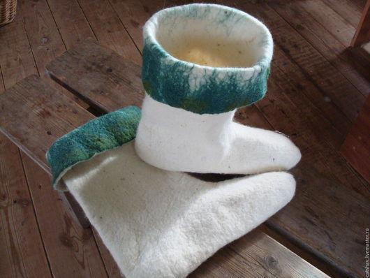"""Обувь ручной работы. Ярмарка Мастеров - ручная работа. Купить Носки-вкладыши """"Рыболов"""". Handmade. Тёмно-зелёный, шерсть 100%"""