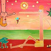 Картины ручной работы. Ярмарка Мастеров - ручная работа У зеленого моря. Наивное искусство. Акрил, ДСП.. Handmade.