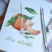 """Картины и панно ручной работы. Ярмарка Мастеров - ручная работа Акварель """"Сочный мандарин"""". Handmade."""