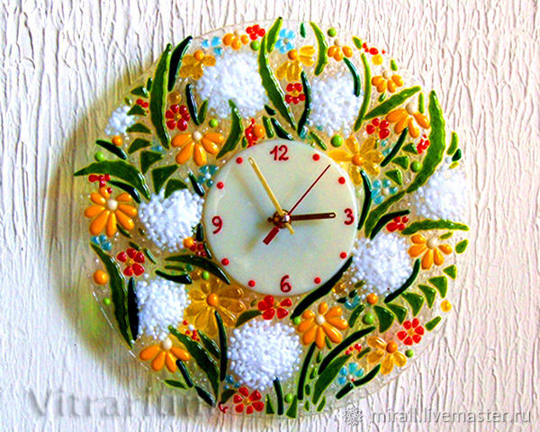 Home watch, fusing the clock 'Dandelions', stained glass, Watch, Odessa,  Фото №1