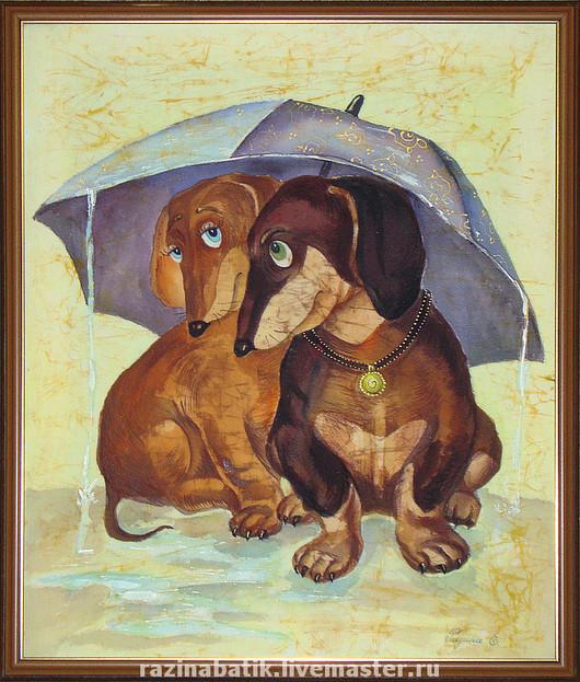 Животные ручной работы. Ярмарка Мастеров - ручная работа. Купить Под зонтиком. Handmade. Такса, любовь, Батик