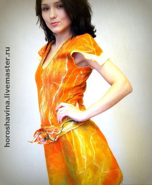 """Платья ручной работы. Ярмарка Мастеров - ручная работа. Купить Платье """"Шелковая лисица"""". Handmade. Нуновойлок, авторское платье"""