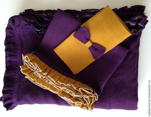 Текстиль, ковры ручной работы. Ярмарка Мастеров - ручная работа. Купить Льняная скатерть с салфетками.. Handmade. Тёмно-фиолетовый