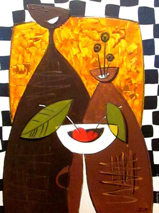 """Натюрморт ручной работы. Ярмарка Мастеров - ручная работа. Купить Картина маслом """"Вишенки"""". Handmade. Комбинированный, букет, корзина для фруктов"""