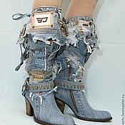 """Обувь ручной работы. Ярмарка Мастеров - ручная работа Сапоги джинсовые """"Я в дениме"""", каблук 9см.. Handmade."""