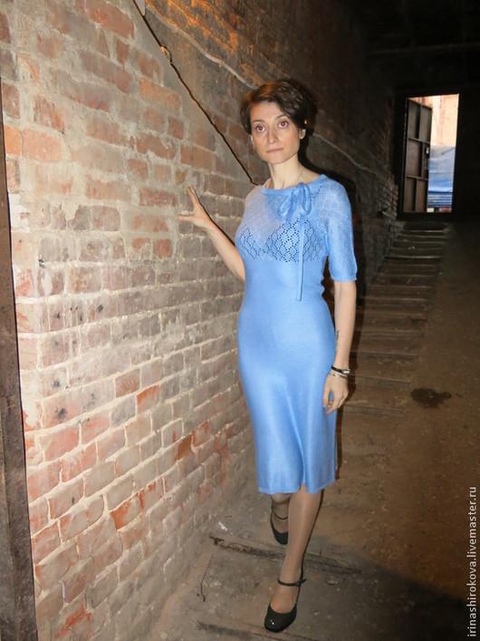 Платья ручной работы. Ярмарка Мастеров - ручная работа. Купить Вязаное авторское платье Париж. Handmade. Голубой, вискозный шёлк