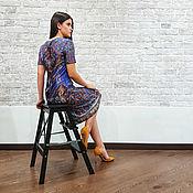Одежда ручной работы. Ярмарка Мастеров - ручная работа Нарядное шелковое платье, синее платье на Новый год из купонного шелка. Handmade.