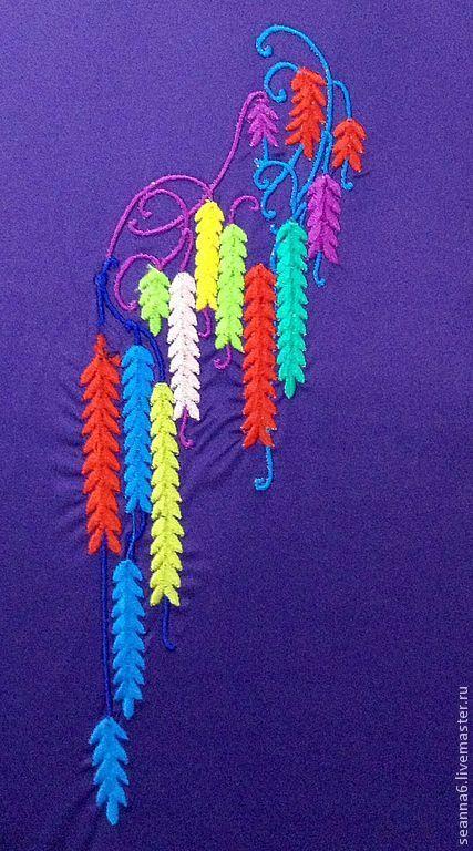 """Картины цветов ручной работы. Ярмарка Мастеров - ручная работа. Купить Вышивка выреза, орнамента на одежде, картинки """"Разноцветные сережки"""". Handmade."""