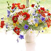 Цветы и флористика ручной работы. Ярмарка Мастеров - ручная работа Букет летних цветов с цикорием. Handmade.