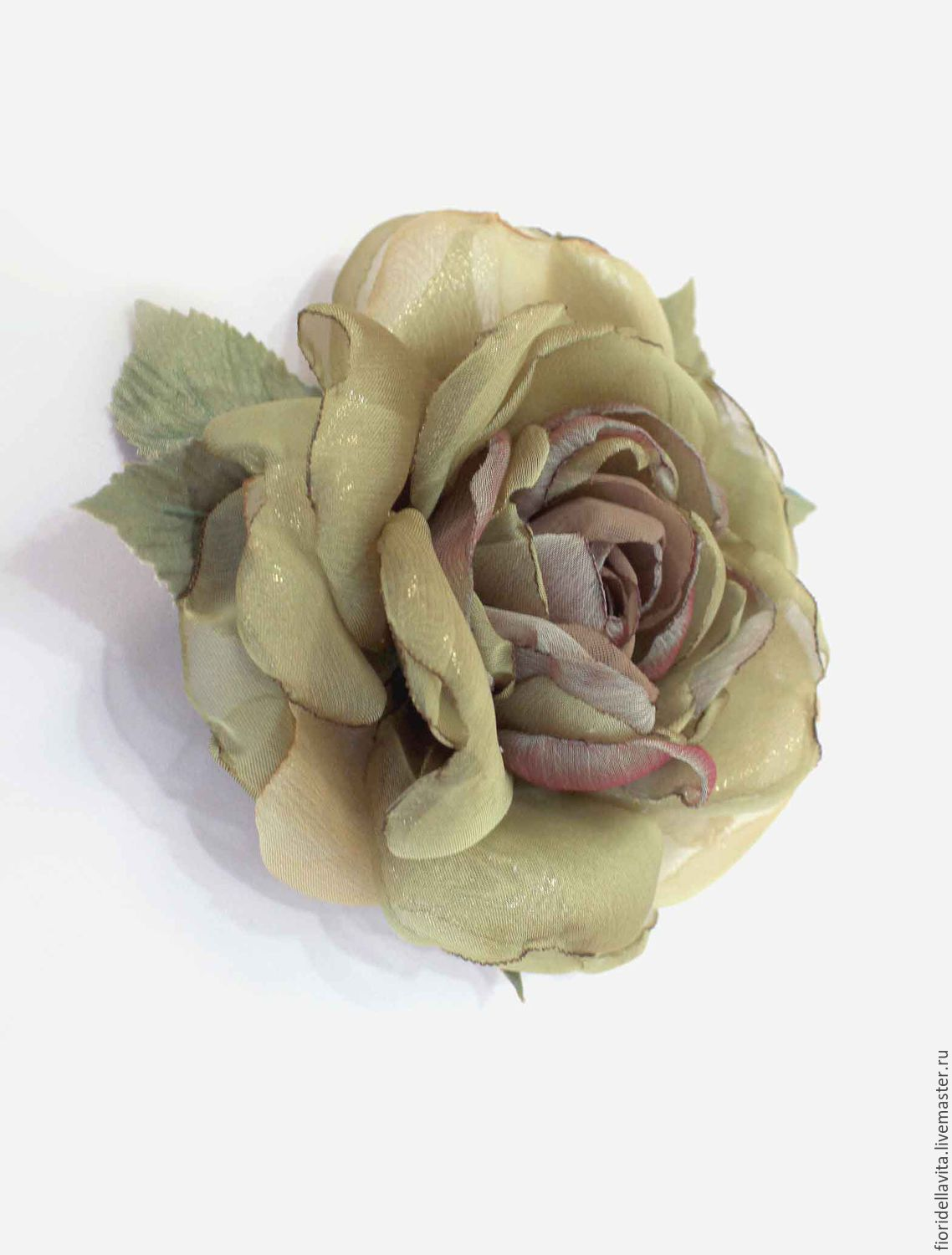 FABRIC FLOWERS. Rose-brooch 'olive-gold', Brooches, Vidnoye,  Фото №1