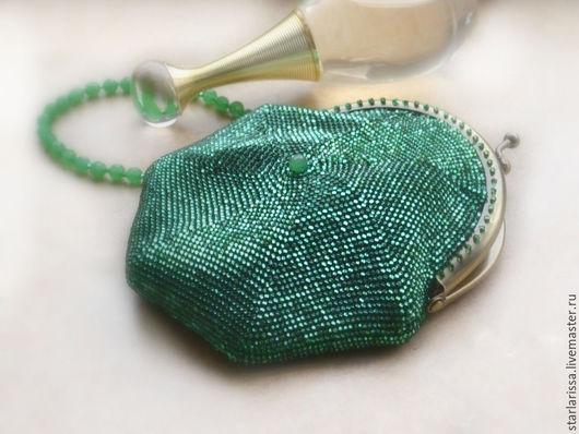 Женские сумки ручной работы. Ярмарка Мастеров - ручная работа. Купить маленькая бисерная сумочка-кошелек. Handmade. Однотонный, нефрит