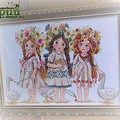 Картина вышивка крестом панно Подружки Девочки Славянки Русский стиль