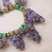 Украшения handmade. Livemaster - original item Lilac necklace and earrings of amethyst and beads. Handmade.