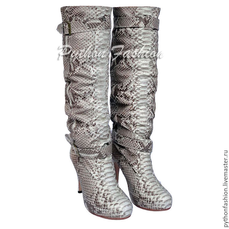 Boots Python skin. Beautiful boots made from Python. Women's boots with Python skin on the platform. Economie boots handmade to order. Women's high heeled boots. Buy boots from Python.