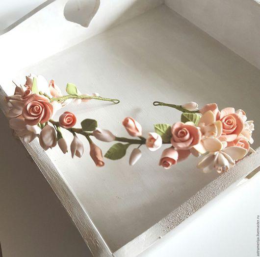 Диадемы, обручи ручной работы. Ярмарка Мастеров - ручная работа. Купить Венок с цветами из полимерной глины Розы и орхидеи. Handmade.
