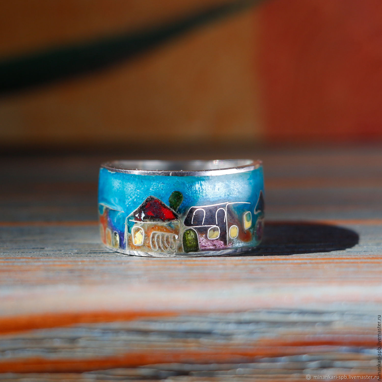 """Кольцо """"Тбилисские домики"""" серебряное перегородчатая эмаль. Минанкари, Кольца, Санкт-Петербург,  Фото №1"""