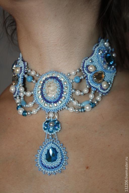 """Колье, бусы ручной работы. Ярмарка Мастеров - ручная работа. Купить Колье -стойка""""Cinderella""""in blue color. Handmade. Бирюзовый"""