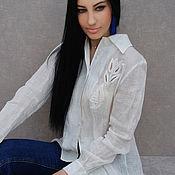 """Одежда handmade. Livemaster - original item Стильная льняная блузка с вышивкой """"Белые тюльпаны"""". Handmade."""