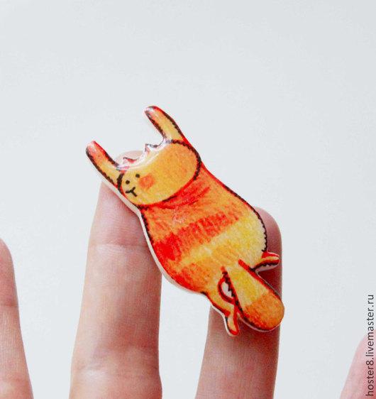 """Броши ручной работы. Ярмарка Мастеров - ручная работа. Купить Брошь """"Рыжий котя"""" (0117). Handmade. Рыжий, кошка, котэ"""