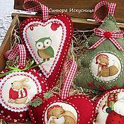 Подарки к праздникам handmade. Livemaster - original item Set of Christmas toys out of felt and fabric 7 piece Santa Claus with friends. Handmade.