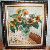 Картины и панно ручной работы. Ярмарка Мастеров - ручная работа Подсолнухи в вазе. Handmade.