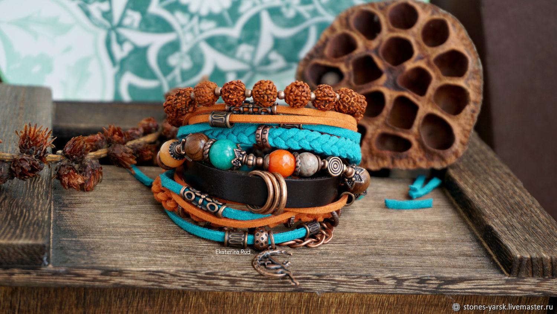 Boho style bracelet, suede, leather ' with a taste of joy', Bead bracelet, Moscow,  Фото №1