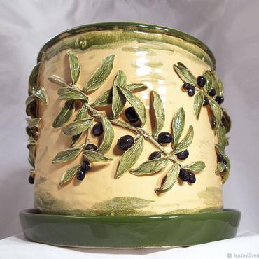 Flowers and floristry handmade. Livemaster - original item Flower pot Olive branch. Handmade.