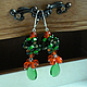 Earrings Sentimentally drops green red beads and orange beads bunch. Earrings. Diana Ilnitskaya. Online shopping on My Livemaster.  Фото №2