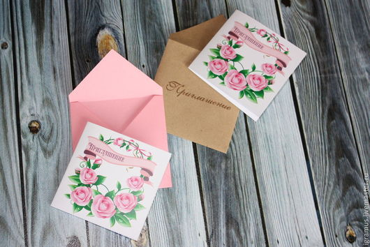 Свадебные открытки ручной работы. Ярмарка Мастеров - ручная работа. Купить Приглашение мини. Handmade. Розовый, приглашением на свадьбу