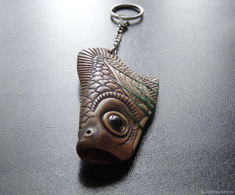 """""""Рыбка в водорослях"""" - коллекционный брелок из рога оленя"""