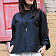 R00011 Рубашка черная свободная летняя рубашка летняя блузка