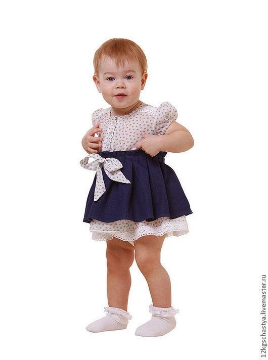 Одежда для девочек, ручной работы. Ярмарка Мастеров - ручная работа. Купить Платье для малышки. Handmade. Тёмно-синий, платье с кружевом