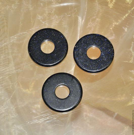 Для украшений ручной работы. Ярмарка Мастеров - ручная работа. Купить Авантюрин синий плоский диск, круг 30. Handmade.