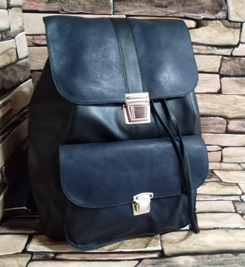 Leather backpack black and blue, Backpacks, Izhevsk,  Фото №1