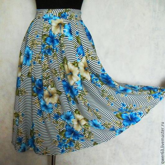 Юбки ручной работы. Ярмарка Мастеров - ручная работа. Купить Юбка летняя из вискозы,длина миди,с цветами,в полоск. Handmade.