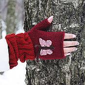 Аксессуары ручной работы. Ярмарка Мастеров - ручная работа Митенки женские перчатки длинные бордовые (бабочка, красный, розовый). Handmade.