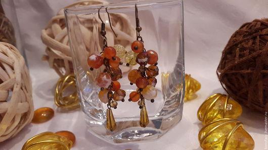 """Серьги ручной работы. Ярмарка Мастеров - ручная работа. Купить Серьги """"Осень в Париже"""" из натуральных камней. Handmade. Комбинированный"""