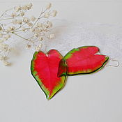 Украшения handmade. Livemaster - original item Transparent Earrings Red Earrings Tropical Leaves Earrings Resin Boho. Handmade.