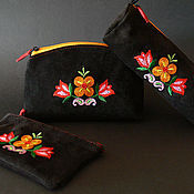 Сумки и аксессуары handmade. Livemaster - original item A set of suede (purse, spectacle case and key ring ). Handmade.
