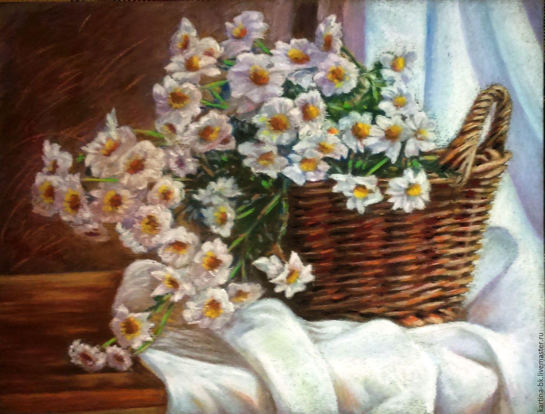 Картины цветов ручной работы. Ярмарка Мастеров - ручная работа. Купить Ромашки. Handmade. Корзина, ромашки, пастель