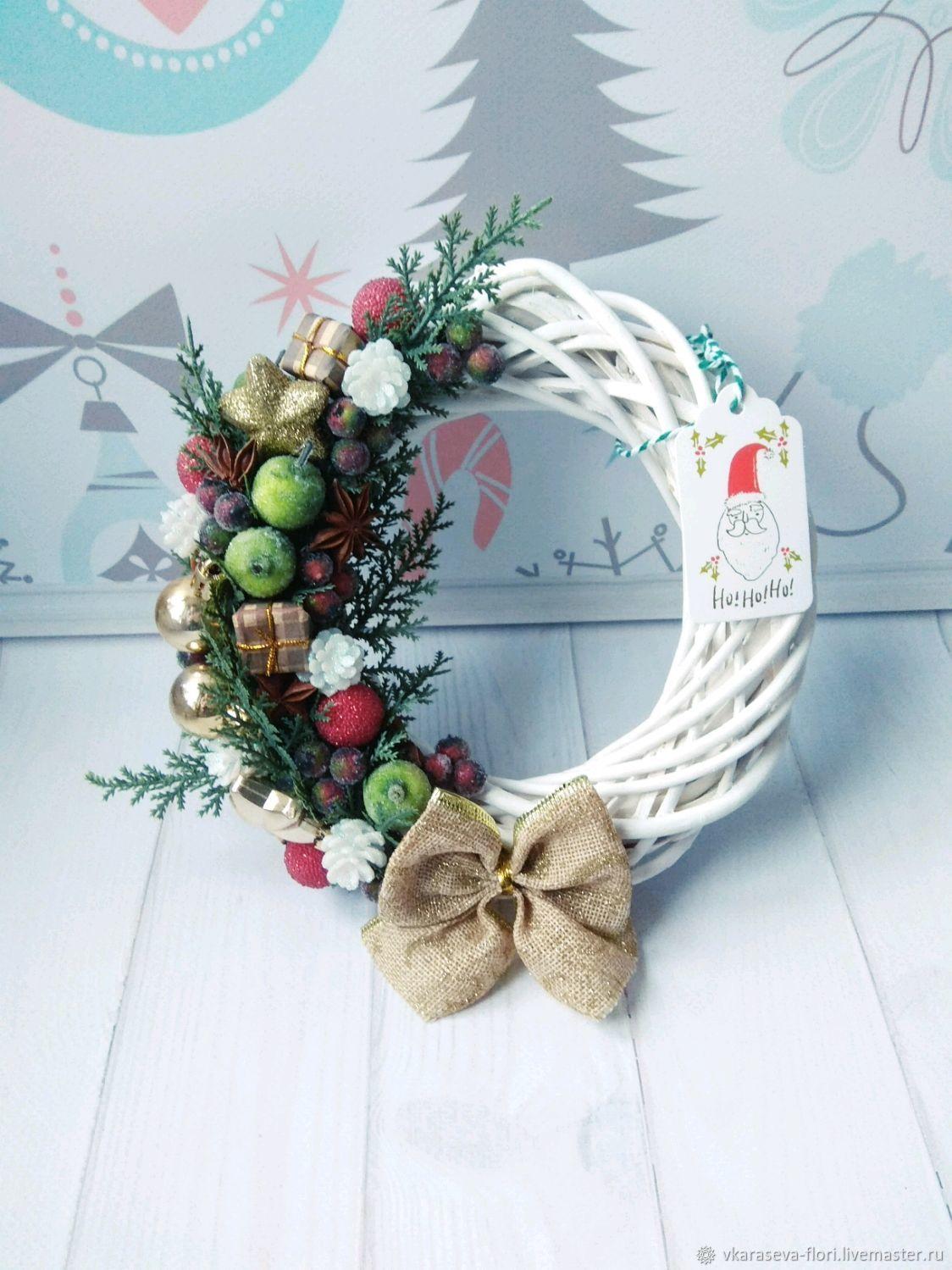Рождественский венок, для дома, подарок, украшение, белый, на дверь, Новогодние композиции, Москва,  Фото №1