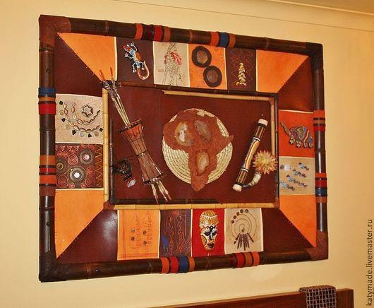 """Этно ручной работы. Ярмарка Мастеров - ручная работа. Купить Панно """"Африка"""". Handmade. Панно, натуральная кожа, жираф, тростник"""