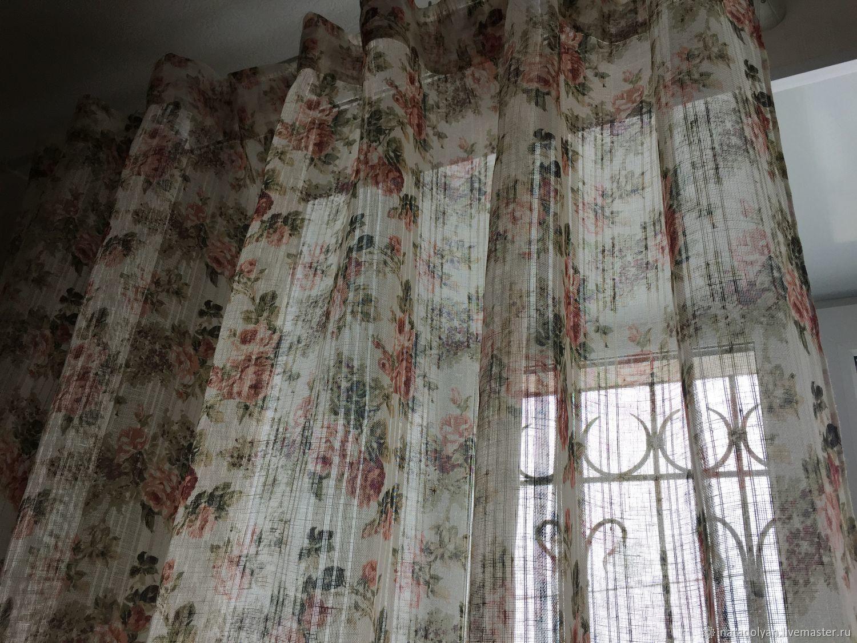 Tulle linen ' Garden roses', Curtains1, Ivanovo,  Фото №1