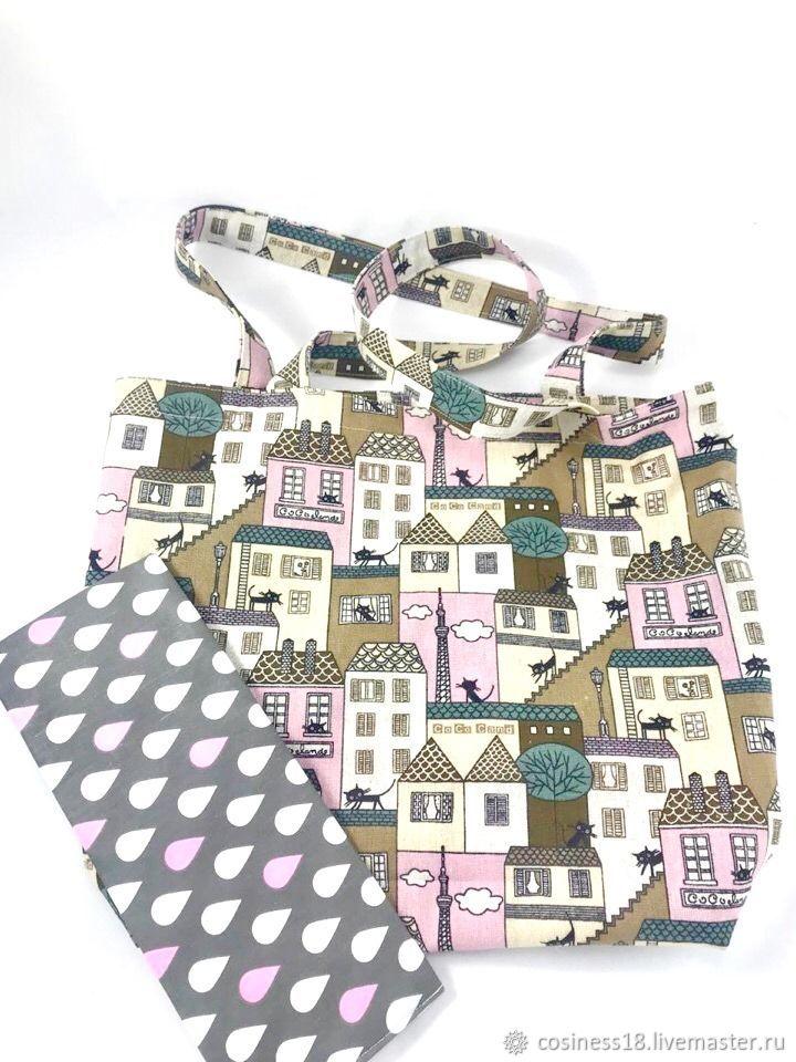 Льняная сумка. Коты на крыше