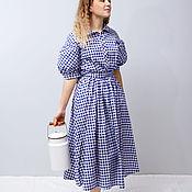 Одежда handmade. Livemaster - original item Retro-style plaid dress with lantern sleeves. Handmade.