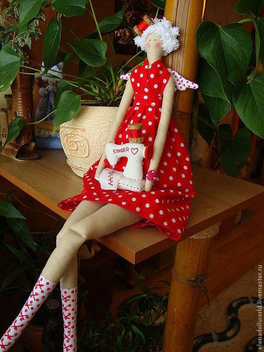 Куклы Тильды ручной работы. Ярмарка Мастеров - ручная работа. Купить Тильда,,Швейный ангел,,. Handmade. Ярко-красный