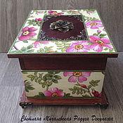 Для дома и интерьера ручной работы. Ярмарка Мастеров - ручная работа шкатулка для хранения Шиповник коробочка декупаж. Handmade.